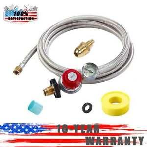 12ft High Pressure Adjustable Propane Gas Regulator Hose Indicator, Stainless