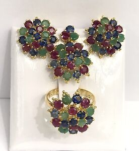 14k Solid Gold Round Flowers Set Earrings Ring Pendant,Mix Ruby Sapphire Emerald