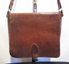 Vintage Patina Brown Leather Hippie/Boho Messenger/Crossbody/Shoulder Handbag