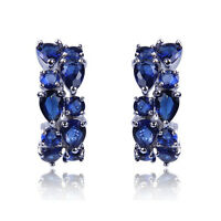 Women's Blue Sapphire Ear Hoop Stud Earrings White Gold Filled Wedding Jewelry