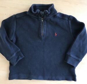 POLO Ralph Lauren Boys Size 4T Navy Long Sleeve Quarter Zip Knit Top Sweater