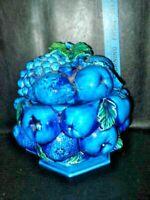 Vintage 'Mood Indigo' Blue Ceramic Fruit Basket Cookie Jar Centerpiece Inarco