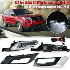 Front Bumper LED Fog Light Lamp W/ Grill Grille For Ford Fusion Mondeo  W