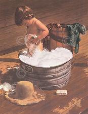 Saturday Night by Jim Daly Kid Children Bath Tub Americana Print Poster 11x14