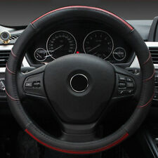 Genuine Leather Auto Car Steering Wheel Cover Anti-slip Universal Black&Red 38cm
