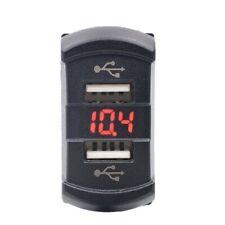 2 Port USB Red LED 12V Charger Socket Car Boat Voltmeter Rocker Switch Panel USA