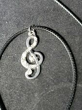Trebel Clef Necklace, Music Note Necklace, unknown material, looks like sterling
