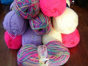 Huge lot of soft baby knitting yarn dk  random bright rainbow colours 10 balls