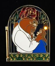 Disney Beauty And The Beast 10th Anniversary Light Up Stained Glass Pin Hinged