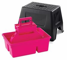 LITTLE GIANT DURA TOTE STOOL Step Stool & Tote Box in One Holds 300lbs. Hot Pink
