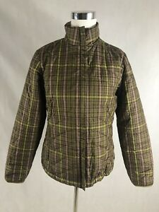 Lands End Womens Small Soft Shell Jacket Brown Plaid Lined XS (2-4)
