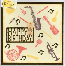 "HAPPY BIRTHDAY MUSICAL INSTRUMENTS HANDMADE BLANK GREETING CARD 6"" x 6"""