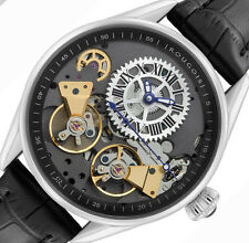 PRE-OWNED Men's Rougois Regal Double Escapement Automatic Leather Watch RS8390S