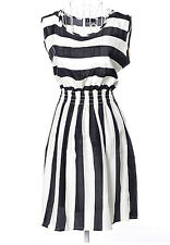 Black + White Striped Dress Size 6 8 10 12 14 16 lightweight Summer Dresses