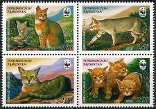 Tajikistan 2002 SG#189-192 Reed Cat, WWF MNH Set #E8799