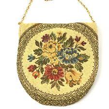 Vintage MAGID Handbag Purse Tapestry Chain Strap Floral Metallic Threads
