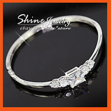 24K Gold FILLED SIMULATED DIAMOND FIVE STONE ETERNITY SOLID GIRL BANGLE BRACELET