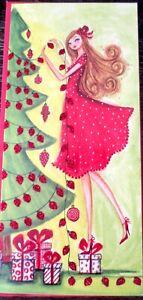 Papyrus Bella Pilar Girl Stringing Lights Holiday Christmas Greeting Card RARE