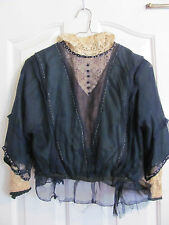 Silk Lace Long Sleeve Antique Victorian Blouse - Amazing Irish Lace Hand Beaded