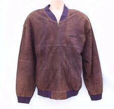 Vintage Brown 100% Real Leather KM Bomber Harrington Men's Coat Jacket sz XL 2XL