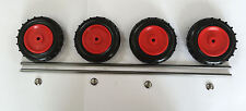 """4 x 100mm (4"""") Red Plastic Wheels With 2 Axles & 4 Spring Caps"""