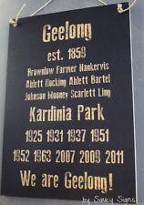 Geelong History Footy Sign Bar Pub Man Cave BBQ Wooden Cats Football Sign