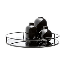 Round Metal Tray Serving Holder Deep Drinks Kitchen, Home Table Decor Iron Black