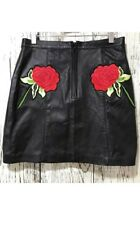 NEW TOPSHOP FINDS Black Leather Rose Patch Mini Skirt Womens Size UK M 31000