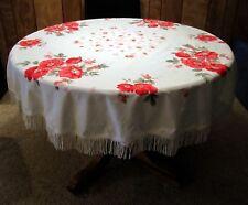 Round Vintage 1950s Cotton Printed Tablecloth Wild Roses Dark Pink White Fringe