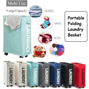 Portable Folding Laundry Basket Dirty Clothes Toy Storage Bag Hamper With Wheel