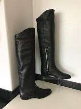 All Saints Rare 100% Black Lambs Leather Over Knee High Boots 38 Uk 5 £275