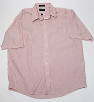 Mens Stafford short Sleeve Size 18 Wrinkle Free Oxford Big and Tall Red & White