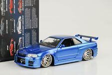 2002 Brian `s NISSAN SKYLINE GT-R R34 FAST AND & FURIOUS BLU METALLIZZATO 1:24