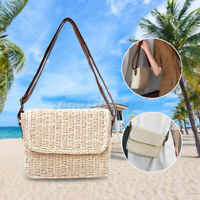 Women Lady Straw Bag Hand Beach Rattan Shoulder Bags Purse Handbag Crossbody