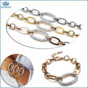Bracciale da donna maglia grossa catena con zirconi in acciaio braccialetto per