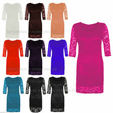 New Women's 3/4 Sleeve Floral Lace Bodycon Ladies Midi Dress Top Plus Size 8-22