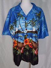 Mens Palmwave Hawaiian Aloha Shirt Palm Tree Hibiscus Button Down Size L Large