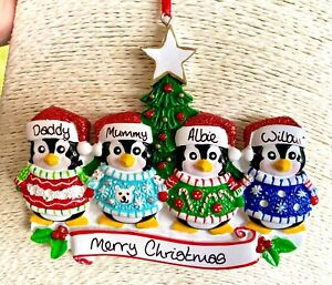 Personalised Penguins in Jumpers Family of 4 Christmas Tree Bauble Decoration
