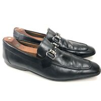 Magnanni For Neiman Marcus Black Leather Moc Toe Formal Horsebit Loafer Men 9 M