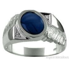 Mens Diamond Ring Blue Star Sapphire Sterling Silver or Gold Plated Silver