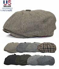 Wool Blend Newsboy Gatsby Cap Ivy Classic 8 panel Hat Mens Cabbie Winter Golf