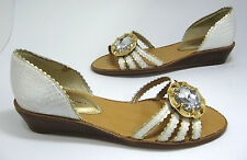 New Chinese Laundry Kailani size 7.5 Off-White Huge Faux Jewel Low Wedge Heels
