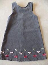 girls GYMBOREE CORDUROY JUMPER DRESS gray BOWS fancy WORN FEW TIMES! size 5 cute