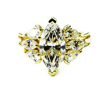 14K Yellow Gold Marquise Cubic Zirconia Engagement Ring ~ 3.9g