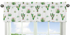Pink Green Boho Watercolor Window Treatment Valance for Cactus Floral Collection