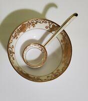 Antique Morimura Brothers Mayonnaise Bowl+Spoon Noritake Moriage+Gilded