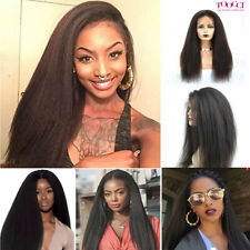 Brazilian 100% Human Hair Afro Kinky Yaki Straight Lace Frontal Wig Black Women