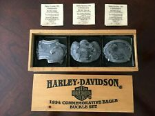 Harley Davidson 1994 Commemorative Eagle 3 Piece Belt Buckle Set Baron Brass