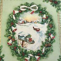 Vintage Mid Century Christmas Greeting Card Die Cut Wreath Mailbox Sleigh Ride