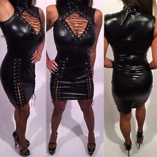 Connie's Exclusive Stretch to fit Black Club Dress Lace up Thighs and chest XXL